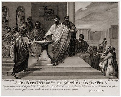 Antique Etching Art Print Quinctius Cincinnatus Laws Of Rome Old Prints Wall Art
