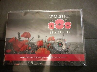 2018 New Zealand 50c Cent Armistice Day Presentation Carded Colored Coin Sealed