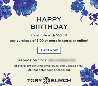 $50 off TORY BURCH Purchase Online/In Store Promo Coupon Code Expires 1/31/19