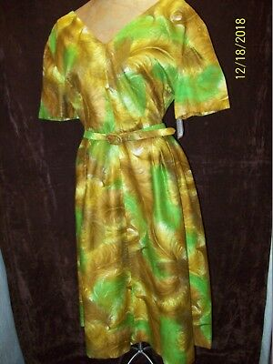 Vintage 1950's Gold Brown Green Polished Cotton Day Dress Size Small