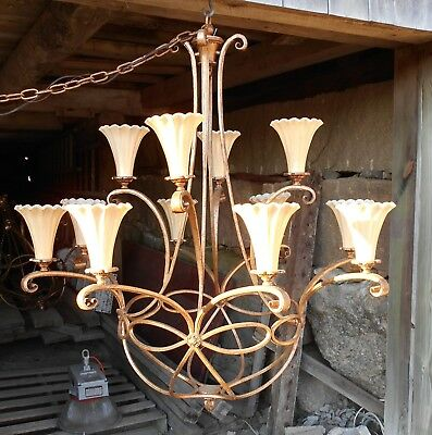 A Monumental 12 Arm Mid Century Classical Scrolled Arm Wrought Iron Chandelier