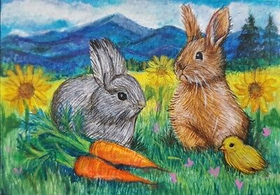 ORIGINAL ACEO Acrylic Painting Art Bunny Rabbit Chick Cute Carrot Nature Flower