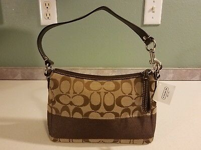 aa6d85331ad7 NWT AUTHENTIC COACH Signature Stripe Small Handbag Purse Khaki/Mahogany -  F43933
