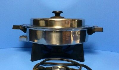 STAINLESS STEEL ELECTRIC SKILLET # 17906 LIFETIME W/ POUCHER Heavy Duty VGC!!