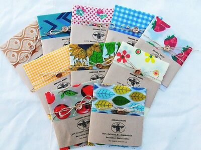 Sandwich/Baguette 100% Natural Beeswax Food Wrap with button and string, Eco