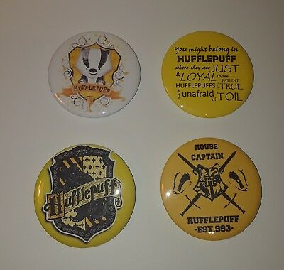 "Lot Of Four Harry Potter House HUFFLEPUFF 2"" Buttons Pins New!"