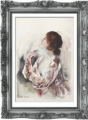 original painting art abstract woman 42BK watercolor peinture femme nue