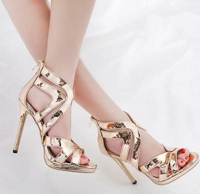 Womens Sexy Stiletto Gold High Heels Shoes Party Patent Leather Gladiator Roman