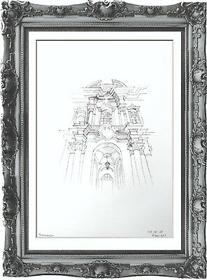original drawing architectural painting 48GK art ink signed A3