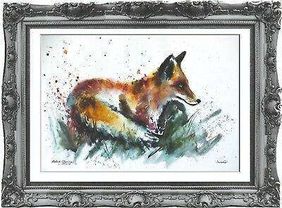 original painting art fox 288LM watercolor peinture A3