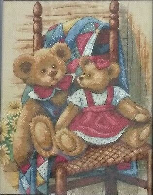 Teddies on Chair Cross Stitch - Completed(Postage to AU, US & UK Only)