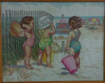 Beach Babies Cross Stitch - Completed(Postage to AU, US & UK Only)