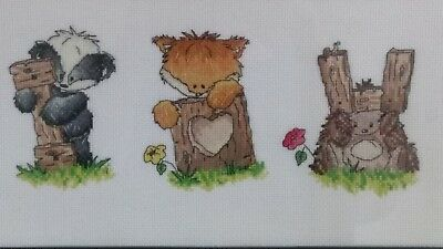 Woodland Friends I Love You Cross Stitch - Completed (Postage to AU, US & UK Onl
