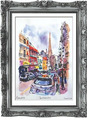 original painting San Francisco USA painting 263UV art watercolor signed A3