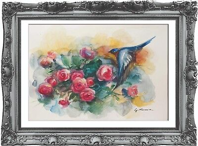original painting art bird 203HI watercolor peinture A3