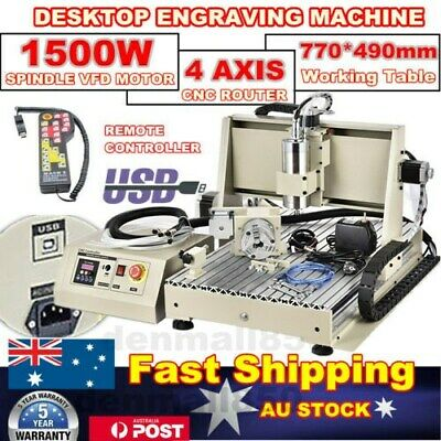 USB 4 Axis CNC 6040 Router Engraver Mill Carving Machine 1.5KW +Remote Handwheel