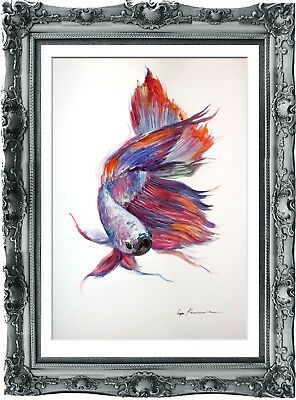 original painting art fish 214HI watercolor peinture A3