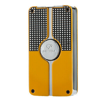 COHIBA Yellow Metal Middle Button Cigar Windproof 3 Jet Flame Torch Lighter Sale