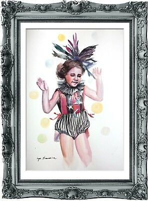 original art painting child circus 216HI watercolor  A3