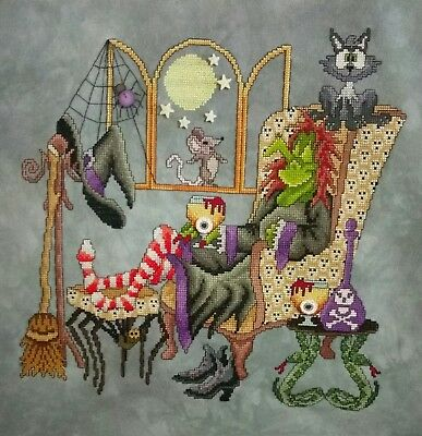 Come Sit a Spell Cross Stitch Completed (Postage to AU, US & UK Only)