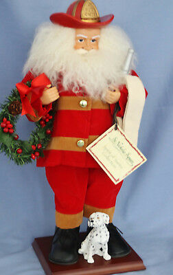 """Santa Claus Fire Chief Fireman 18"""" Figure on Stand by St. Nicholas Square NWT"""