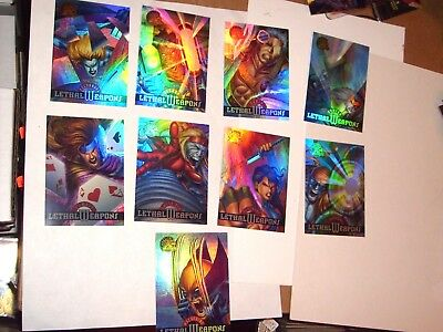 1995 Marvel Fleer Ultra X-Men Chromium LETHAL WEAPONS Insert 9 Card Set HOLOFOIL
