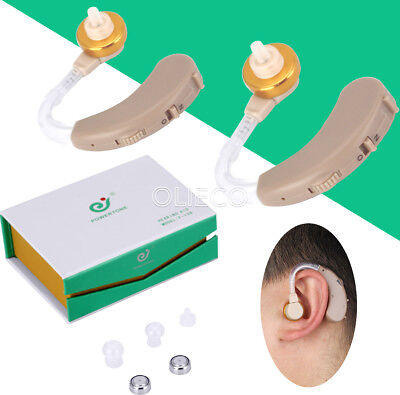 2Pc Digital Hearing Aids Kit Behind the Ear BTE Sound Voice Amplifier Home Care