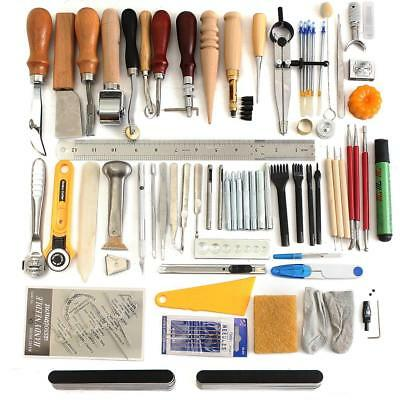 Leather Craft Tool Kit Stitching Carving Working Sewing Saddle Groover Kit Set