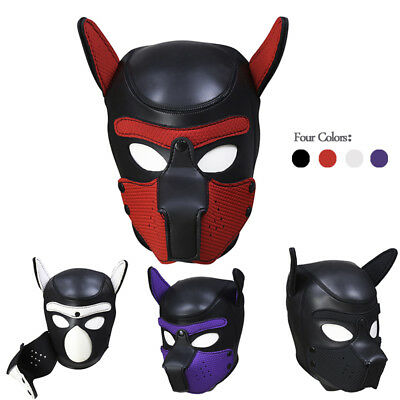 Dog Cosplay Full Head Mask with Ear Fetish Muzzle Hood  Role Play Gimp Costume