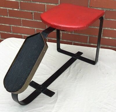 RARE Vintage CAST IRON Shoe Shine Fitting Seat Stool Bench W/ Vinyl Padded Seat