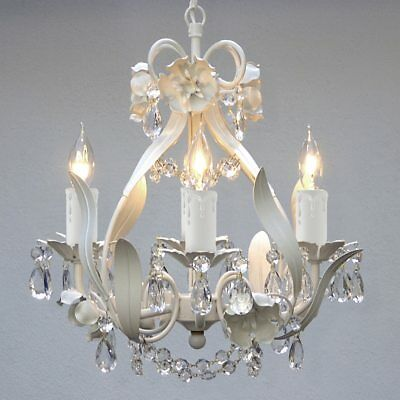 Gallery Mini 4-Light White Floral Crystal Chandelier Hanging Fixture