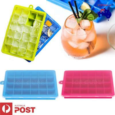 2-3 Silicone Ice Cube Tray Ices Jelly Maker Mold Trays w/Lid for Whisky Cocktail