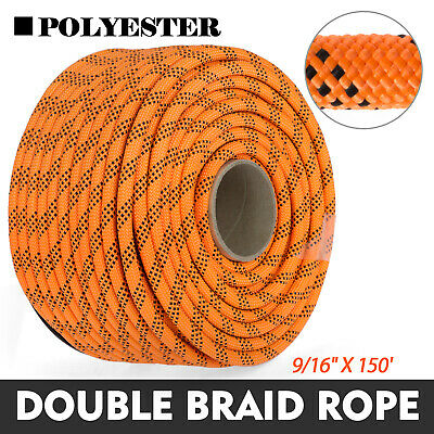 150FT Braid Rope Rock Polyester Rope 9/16'' Rigging Rope Rappelling Abrasio