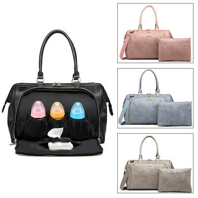 PU Leather Large Mummy Maternity Baby Changing Bag 4pcs Nappy Diaper Wipe Clean