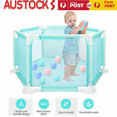 Baby Kids Play Playpen Interactive Playard Ocean Ball Safety Gate 6 Panel Fence