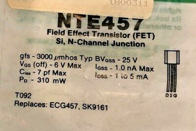1 pc Original NTE457 N-Channel Silicon FET Transistor 3 pin USA