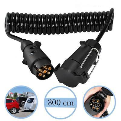 3M Trailer Board Light Cable Lead 7 Pin Extension Socket Plug Curly Cable Towing