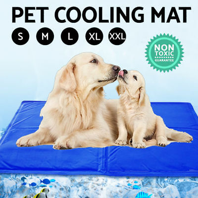 NEW Pet Cool Gel Mat Dog Cat Bed Non-Toxic Cooling Dog Summer Pad 5 Sizes AUS SL