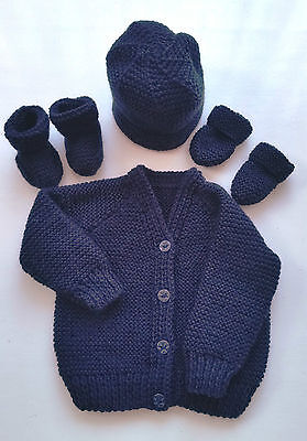 Baby Hand Knitted Cardigan, Hat, Mittens, Bootees Set, Navy Blue, 0-3 M, New