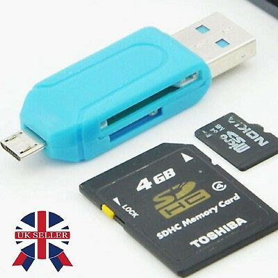 Micro USB OTG to USB 2.0 Adapter SD Card Reader For Android Phone Tablet PC UK