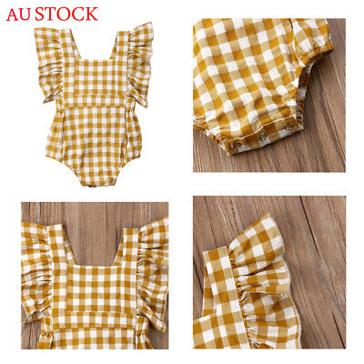 AU Comfort Newborn Toddler Baby Kid Cotton Ruffle Romper Jumpsuit Clothes Outfit