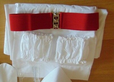 Vintage Style Nurse Apron And Cuffs With Red Belt - Collar & Hat Not Included