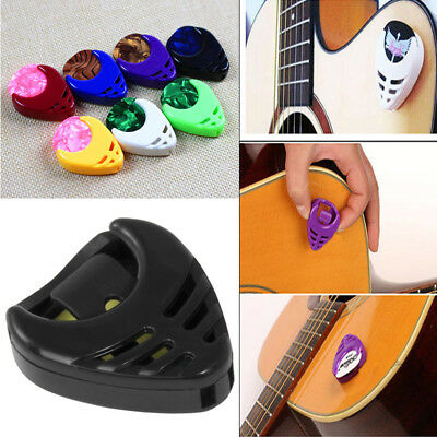 Set on Guitar Plectrum Holder Case Bag W/ 5 Picks Acoustic Bass With Adhesive