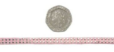 Mini Diamante Studs Pink Silver 5mm Faux Suede Trimming 5 Lengths