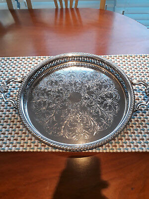"""Silver Plated Round Gallery Tray With Handles 15"""" Diameter"""