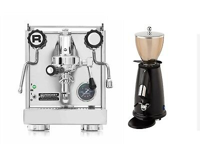 Rocket Appartamento Espresso Machine Coffee Maker& Elektra MSD Grinder Black Set