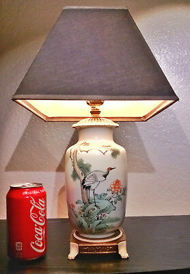 Vintage Japanese Ceramic Vase Lamp Hand Painted with Bird Scene and Calligraphy