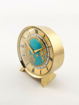 Fine IMHOF Suisse table clock with 8 day movement, world time + 24h scale, 1960s