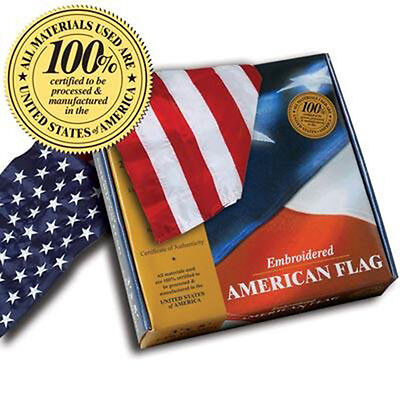 Bordado 5 ft by 8 ft American Flags 100 % MADE IN U. S. A. Allied Bandera™