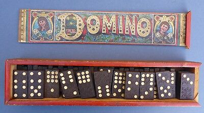 Set Antique Dominoes in Original Lithographed Christmas Box 1890 German Double 9